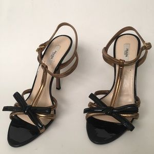 Prada Black &Gold Two Tone Patent Leather Sandals